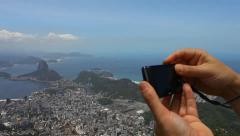 Christ the Redeemer, postcard of Rio de Janeiro. Stock Footage