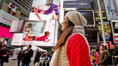 Beautiful Woman Tourist in Times Square New York City NYC Christmas Winter Smile Stock Footage
