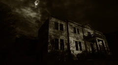 Abandoned old rustic hotel at night - horror movie scene - stock footage