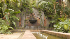 Gardens and fountain at Ponce de Leon 500 years old house water fountain 1 Stock Footage