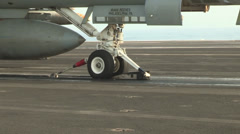F-18 Hornet close up launch on the USS Harry S. Truman Stock Footage