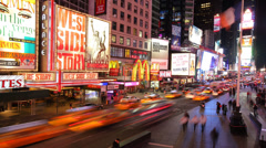 New York City, NY - November 24, 2008: Time lapse shot of Times Square traffic - stock footage