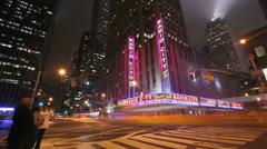 New York City, NY - November 24, 2008: Radio City Music Hall, timelaspse - stock footage
