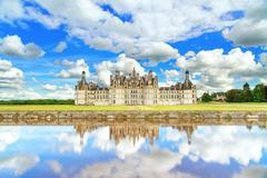 Chateau de chambord, unesco medieval french castle and reflection. loire, fra Stock Photos