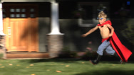 Stock Video Footage of Superhero boy running