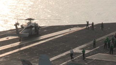 Helicopter Flight Operations on the USS Harry S. Truman Stock Footage