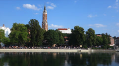 Germany, bavaria, landshut at the river isar Stock Footage