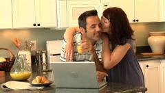 Couple in kitchen - stock footage