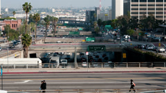 Heavy Traffic on Overpass on the 101 Freeway in Downtown Los Angeles - 4K Stock Footage