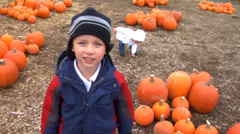 Boy at pumpkin patch - stock footage