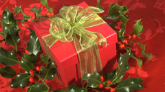 Christmas Present and Holly - stock footage