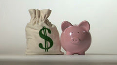 Piggy bank and falling money - stock footage