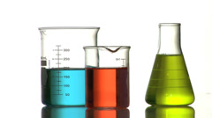 Laboratory glassware with colorful liquid Stock Footage