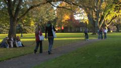 Students on fall campus Stock Footage