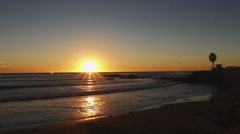 Beautiful Sunset at California Lifeguard Station Stock Footage