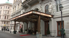 The entrance to the Imperial Hotel in Vienna, Kartner Ring Stock Footage