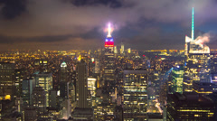 New York City manhattan buildings skyline timelapse night Stock Footage