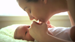 Mother with newborn baby - stock footage