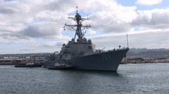 USS Sampson (DDG 102) arriving at Joint Base Pearl Harbor-Hickam (JBPHH) Stock Footage