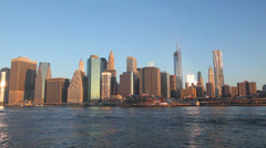 New York City cityscape panorama at sunrise Stock Footage
