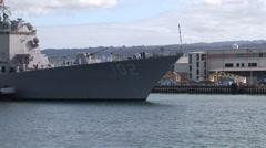 USS Sampson (DDG 102) arriving at Joint Base Pearl Harbor-Hickam (JBPHH) Stock Footage