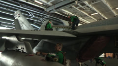 Aircraft Maintenance on the USS Harry S. Truman Stock Footage