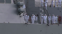 Sailors manning the rails as USS Sampson arriving at  Pearl Harbor Stock Footage
