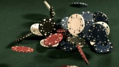 Poker chips falling in slow motion - stock footage