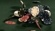 Stock Video Footage of Poker chips falling in slow motion
