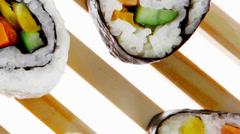 Maki Rolls and California rolls Stock Footage
