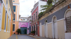Hispanic colonial era cobblestone street 2 Stock Footage