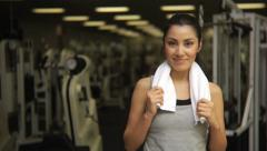 Portriat of a woman at gym Stock Footage