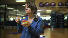Woman at gym Stock Footage