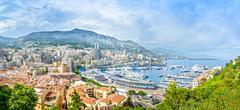 Monaco montecarlo principality aerial view cityscape. azure coast. france Stock Photos