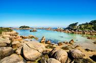Stock Photo of ploumanach, rocks and bay beach in morning, brittany, france.