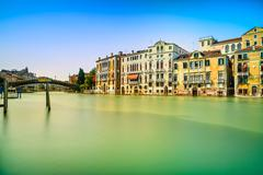 venice cityscape, water grand canal, accademia bridge and traditional buildin - stock photo