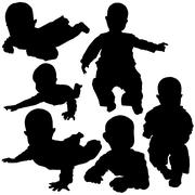 Baby Silhouettes - stock illustration