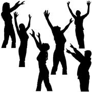 Hands Up Silhouettes Stock Illustration
