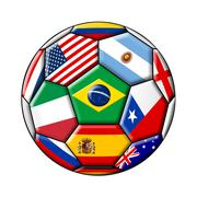 Football ball with flags isolated on a white background Stock Illustration