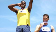 Athletes with medals celebrating - stock footage