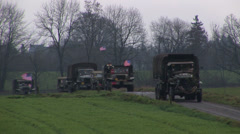 convoy of  ww2 military truck - stock footage