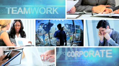 3D video montage business managers working touch screen technology Stock Footage