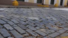 Hispanic colonial era cobblestone street 3 Stock Footage