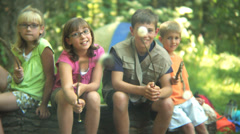 Children roasting marshmallows - stock footage