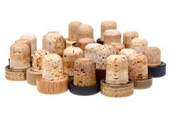 used corks from alcoholic spirits - stock photo