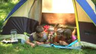 Stock Video Footage of Group of children laying in tent