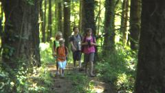 Group of kids on a camping adventure Stock Footage