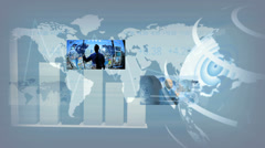 Video montage multi ethnic business managers using touch screen Stock Footage