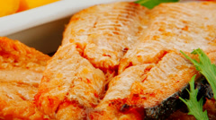 Roast salmon and butter Stock Footage
