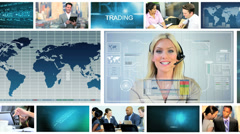 Video montage of business managers using online technology Stock Footage